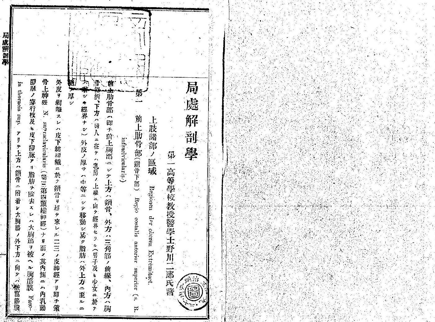 父・野川二郎『局処解剖学』(積成社 明治三十(一八九七)年九月